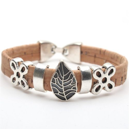 Natural cork bracelet leaf